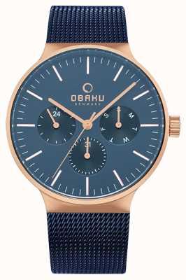 Obaku | mens mos ocean | maille bleue | cadran bleu chronographe | V229GMVLML