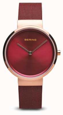 Bering Femmes | classique | bracelet en maille d'acier plaqué pvd rouge 14531-363