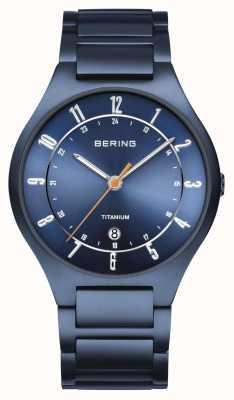 Bering Mens | titane | cadran bleu | bracelet bleu 11739-797