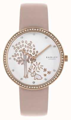 Radley | cuir nu femme | cadran d'arbre blanc | ensemble de cristal lunette RY2836