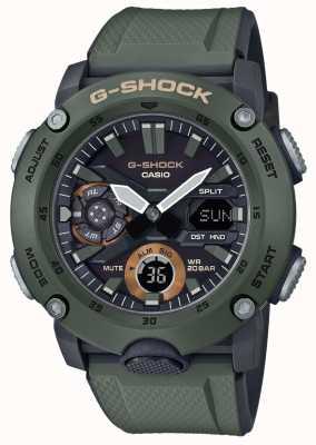 Casio | garde noyau en carbone g-shock | bracelet en caoutchouc vert | GA-2000-3AER