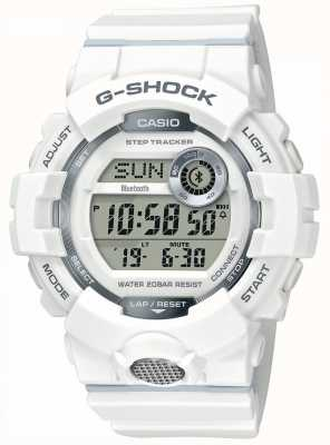 Casio | g-shock | montre de sport, step tracker | bracelet en caoutchouc blanc GBD-800-7ER