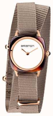 Briston | dame clubmaster | bracelet simple taupe nato | pvd d'or rose 19924.PRA.T.2.NT