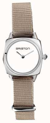 Briston   dame clubmaster   bracelet simple taupe nato   cadran blanc   19924.S.M.2.NT - SINGLESTRAP