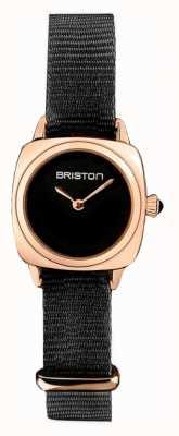 Briston | dame de clubmaster | seul OTAN noir | boîtier en pvd or rose | 19924.SPRG.M.1.NB - SINGLESTRAP