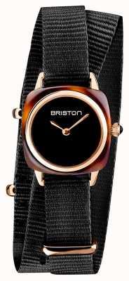 Briston | dame clubmaster | single noir nato | étui pvd or rose | 19924.SPRG.M.1.NB