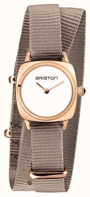Briston | dame clubmaster | single taupe nato | étui pvd or rose | 19924.SPRG.M.2.NT