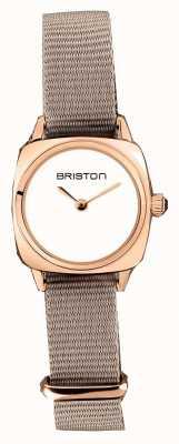 Briston   dame clubmaster   single taupe nato   étui pvd or rose   19924.SPRG.M.2.NT - SINGLESTRAP