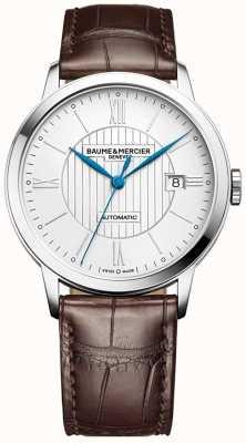 Baume & Mercier | hommes classima | automatique | cuir marron | cadran argenté | BM0A10214