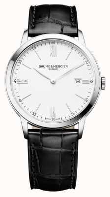 Baume & Mercier | mens classima | bracelet en cuir noir | cadran blanc | M0A10323
