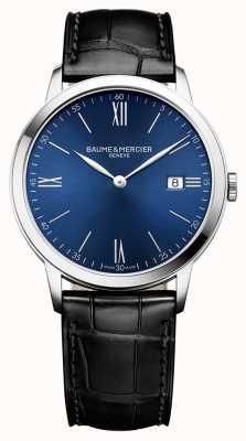 Baume & Mercier | hommes classima | bracelet en cuir noir | cadran bleu | BM0A10324