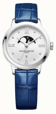 Baume & Mercier | femmes classima | cuir bleu | cadran de phase de lune d'argent | BM0A10329