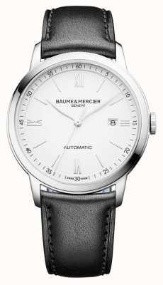 Baume & Mercier | hommes classima | automatique | cuir noir | cadran blanc | BM0A10332