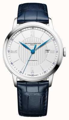 Baume & Mercier | hommes classima | automatique | cuir bleu | cadran argenté | BM0A10333