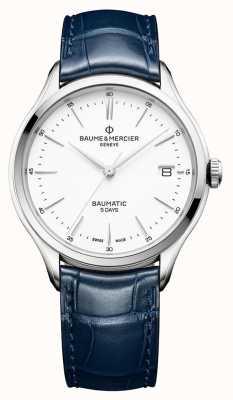 Baume & Mercier | hommes clifton | baumatic | cuir bleu | cadran blanc | BM0A10398