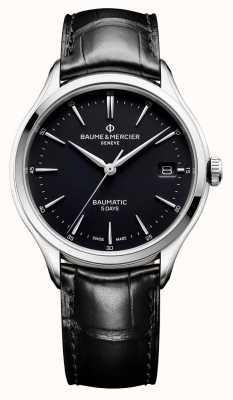 Baume & Mercier | hommes clifton | baumatic | cuir noir | cadran noir | BM0A10399
