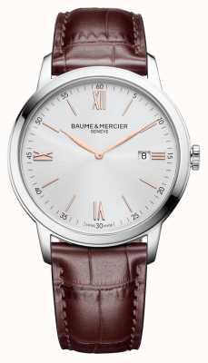 Baume & Mercier | hommes classima | cuir marron clair | cadran argenté | BM0A10415