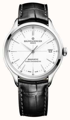 Baume & Mercier | mens clifton | baumatic | cuir noir | cadran blanc | M0A10436