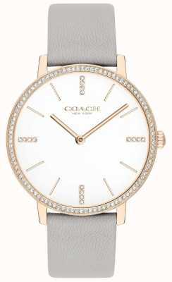 Coach | les femmes | audrey | bracelet en cuir gris | cadran blanc | 14503352