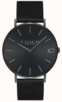 Coach | hommes | charles | bracelet en cuir noir | cadran noir | 14602434
