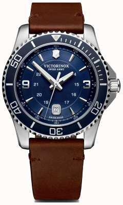 Victorinox Swiss Army | maverick mens | cadran bleu | bracelet en cuir marron | 241863