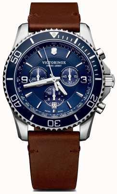 Victorinox Swiss Army | mens maverick chrono | cadran bleu | bracelet en cuir marron | 241865