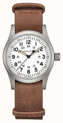 Hamilton | champ kaki mécanique | cadran blanc | bracelet en cuir marron H69439511