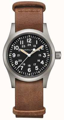 Hamilton | champ kaki mécanique | cadran noir | bracelet en cuir marron H69439531
