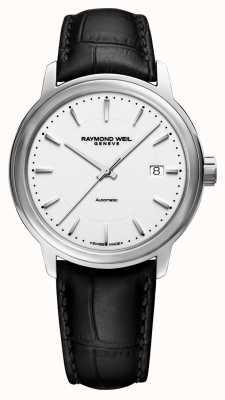 Raymond Weil | homme maestro | auto | bracelet en cuir noir | cadran blanc | 2237-STC-30011