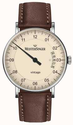 MeisterSinger | mens vintago | automatique | cuir marron | cadran crème | | VT903