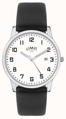 Limit | bracelet homme en cuir noir | cadran argent / blanc | 5741.01