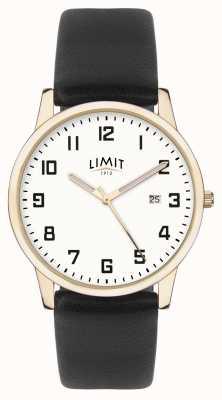 Limit | cuir noir homme | cadran argenté | boîtier en or | 5742.01