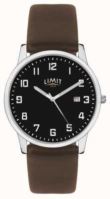 Limit | bracelet en cuir brun foncé pour hommes | cadran noir | 5744.01