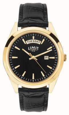 Limit | bracelet homme en cuir noir | cadran noir | boîtier en or | 5750.01