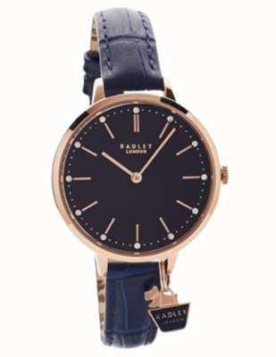 Radley | boitier dames rose d'or | bracelet en cuir bleu | RY2798