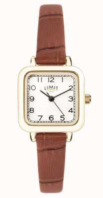 Limit | bracelet en cuir marron pour femme | cadran blanc | boîtier en or | 60058.01