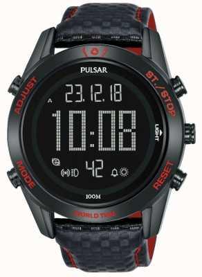 Pulsar | la collection sport rallye | numérique | bracelet en cuir noir P5A039X1
