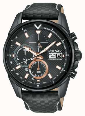 Pulsar | chronographe accélérateur | bracelet en cuir noir | cadran noir PZ6033X1