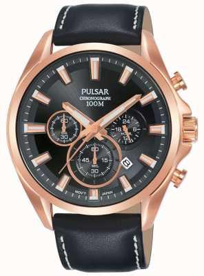 Pulsar | bracelet homme en cuir noir | cadran noir | boîtier en or rose | PT3A28X1