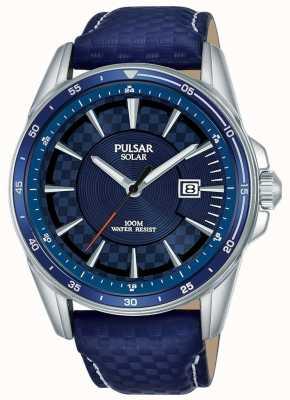 Pulsar | sports d'accélérateur | bracelet en cuir bleu | cadran bleu | PX3205X1