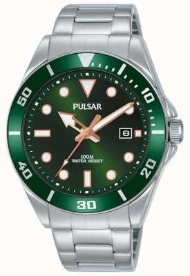 Pulsar | sport occasionnel | bracelet en acier inoxydable | cadran vert | PG8301X1
