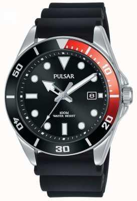 Pulsar | sport occasionnel | bracelet en caoutchouc noir | cadran noir | PG8297X1