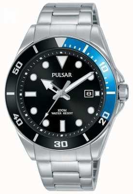 Pulsar | sport occasionnel | bracelet en acier inoxydable | cadran noir | PG8293X1