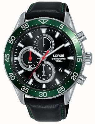 Lorus | chronographe homme | lunette verte | bracelet en cuir noir | RM347FX9
