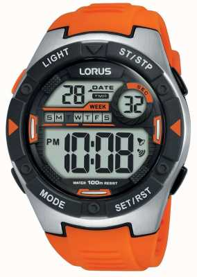 Lorus | mens sports digital | bracelet en caoutchouc orange | R2303NX9