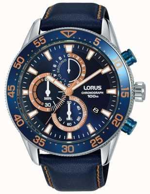 Lorus | chronographe homme | lunette bleue | cuir bleu | cadran bleu | RM341FX9
