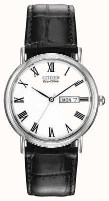 Citizen Mens cadran blanc avec bracelet en cuir Eco-Drive BM8240-11A