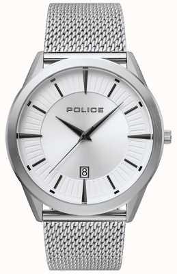 Police | patriote homme | bracelet en maille d'acier inoxydable | cadran argenté 15305JS/04MM
