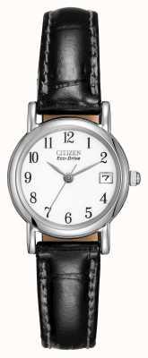 Citizen Cadran blanc dames avec bracelet en cuir noir Eco-Drive EW1270-06A