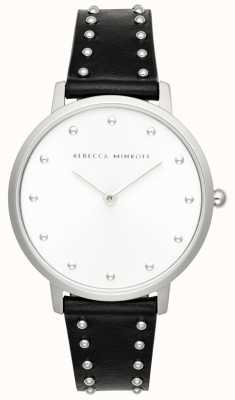Rebecca Minkoff Major femme | bracelet en cuir noir | cadran argenté | 2200307